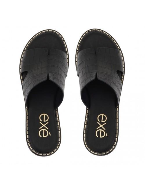 Γυναικείο παπούτσι flat EXE  M47001451024  οικολογικό δέρμα ΜΑΥΡΟ ΚΡΟΚΟ